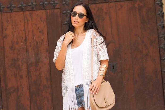 Blog di moda - canotta bianca + kimono pizzo bianco