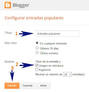 Cambiar de estilos a las Entradas Populares de Blogger