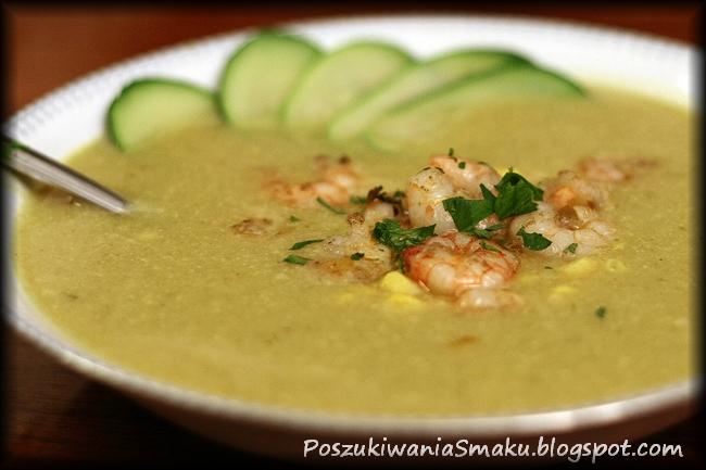 Zupa z cukinii curry z mlekiem kokosowym i krewetkami