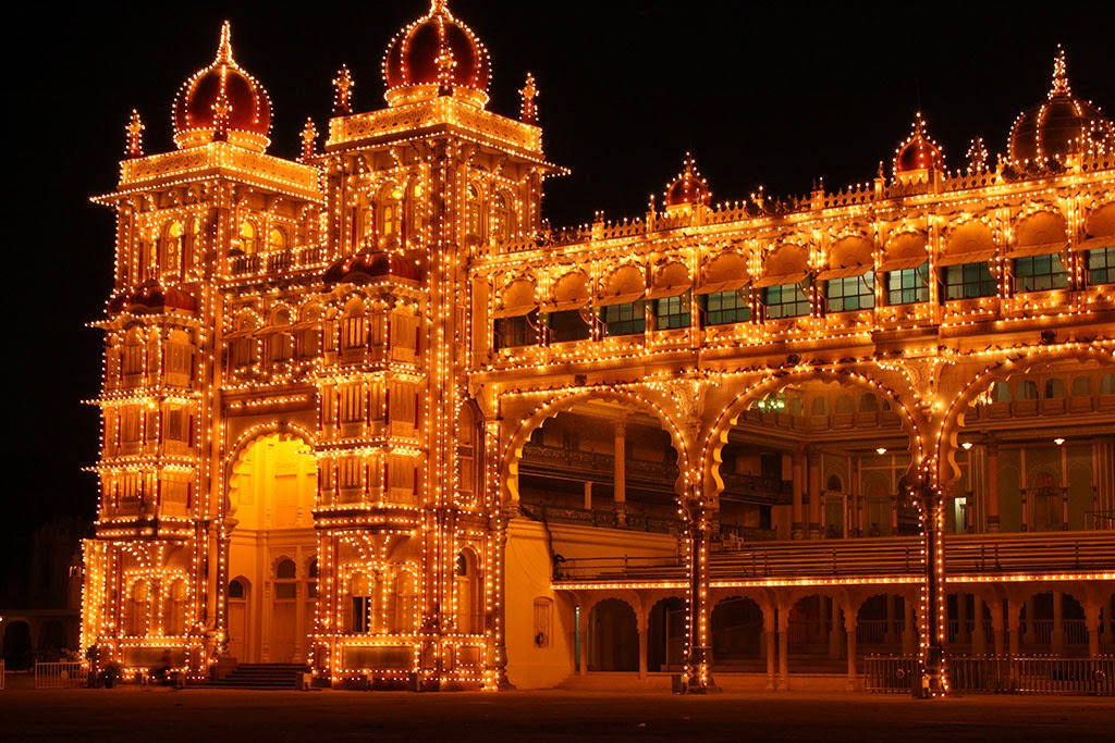 An illuminated Mysore Palace