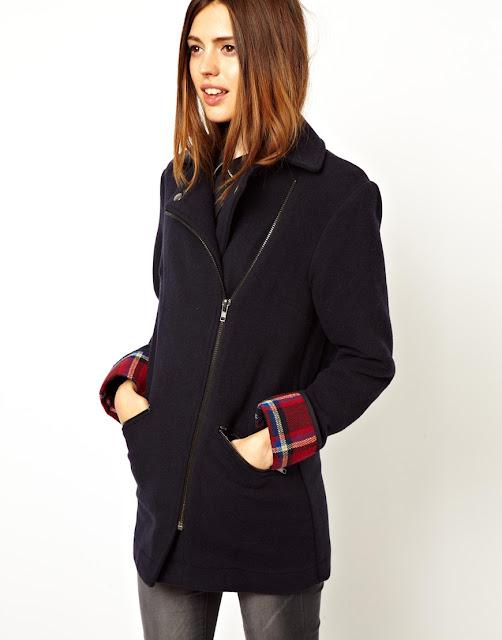 contrast sleeve biker coat