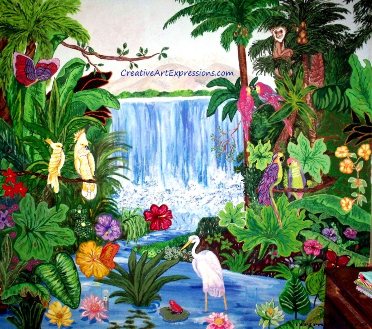 Rainforest wallpaper mural free best hd wallpapers for Creative mural art