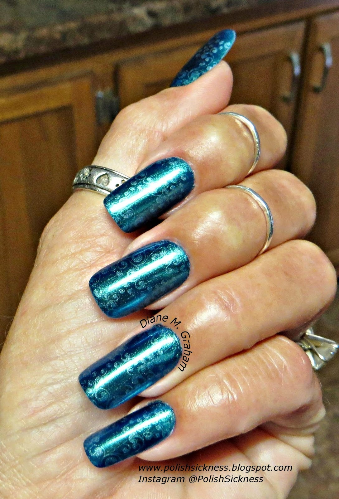 Sally Hansen Color Foil Leaden Lilac, China Glaze Queen B, LeaLac B stamp