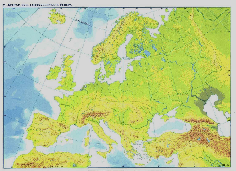 Mapa Fisico Europa Mudo Editorial Teide