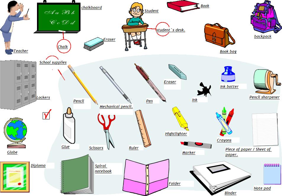 Amado Material escolar em inglês | Learn English GQ55