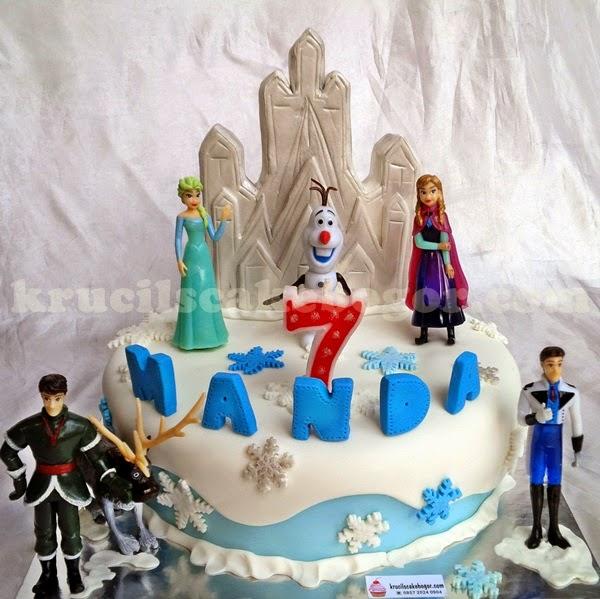 Cake hias fondant dan mainan Disney Frozen