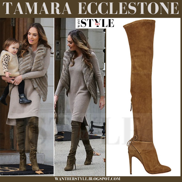 Tamara Ecclestone in moss green suede over the knee Aquazzura Giselle boots what she wore