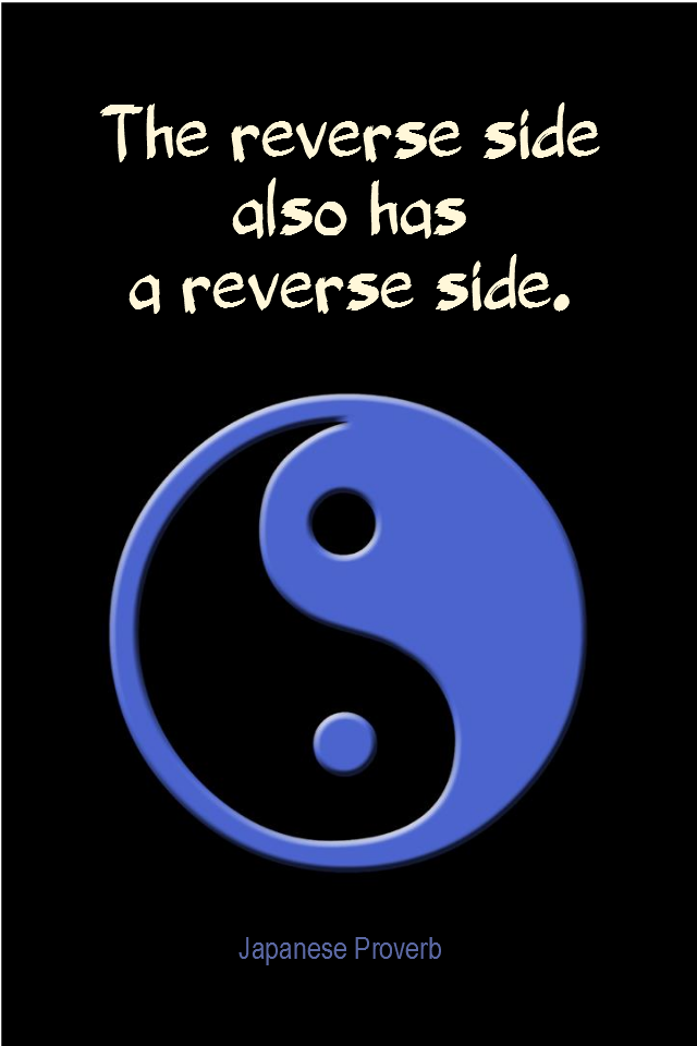 visual quote - image quotation for PERSPECTIVE - The reverse side also has a reverse side. - Japanese saying