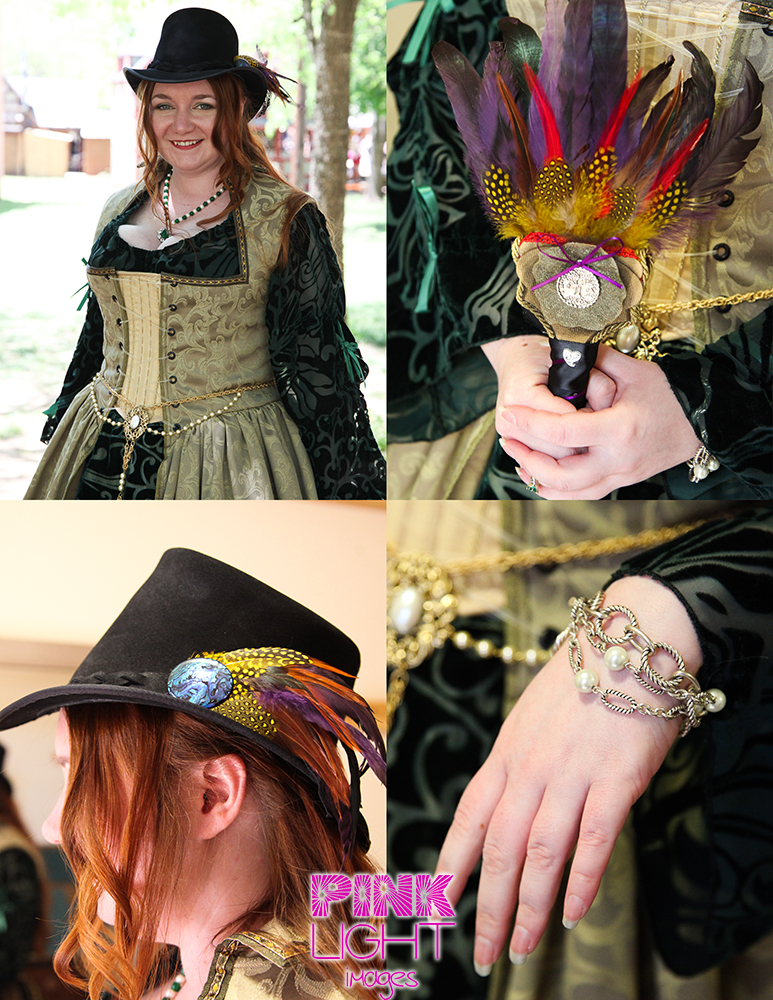 Scarborough Renaissance Festival wedding with steampunk styles and feathers and unique details and bracelets