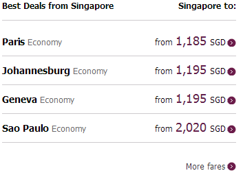 Qatar Airways deals from Singapore