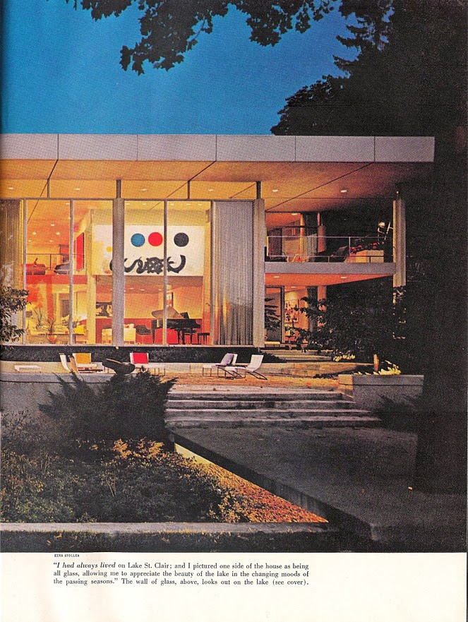 Rear view of the Hawkins Ferry House in Grosse Pointe Shores, MI. (From the Sept 1969 issue of House Beautiful).