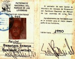 Credencial de presidente del Patronato Nacional del Parque de Las Leyendas.