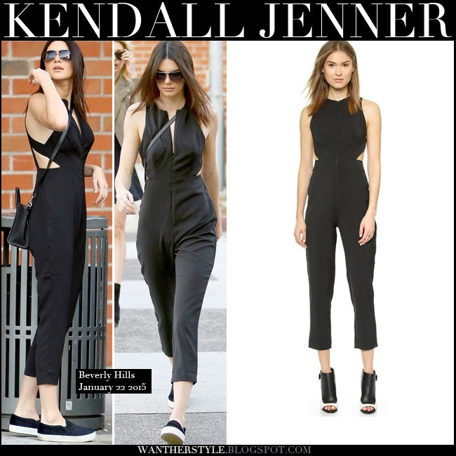 What She Wore Kendall Jenner In Black Jumpsuit With Cutout Sides In