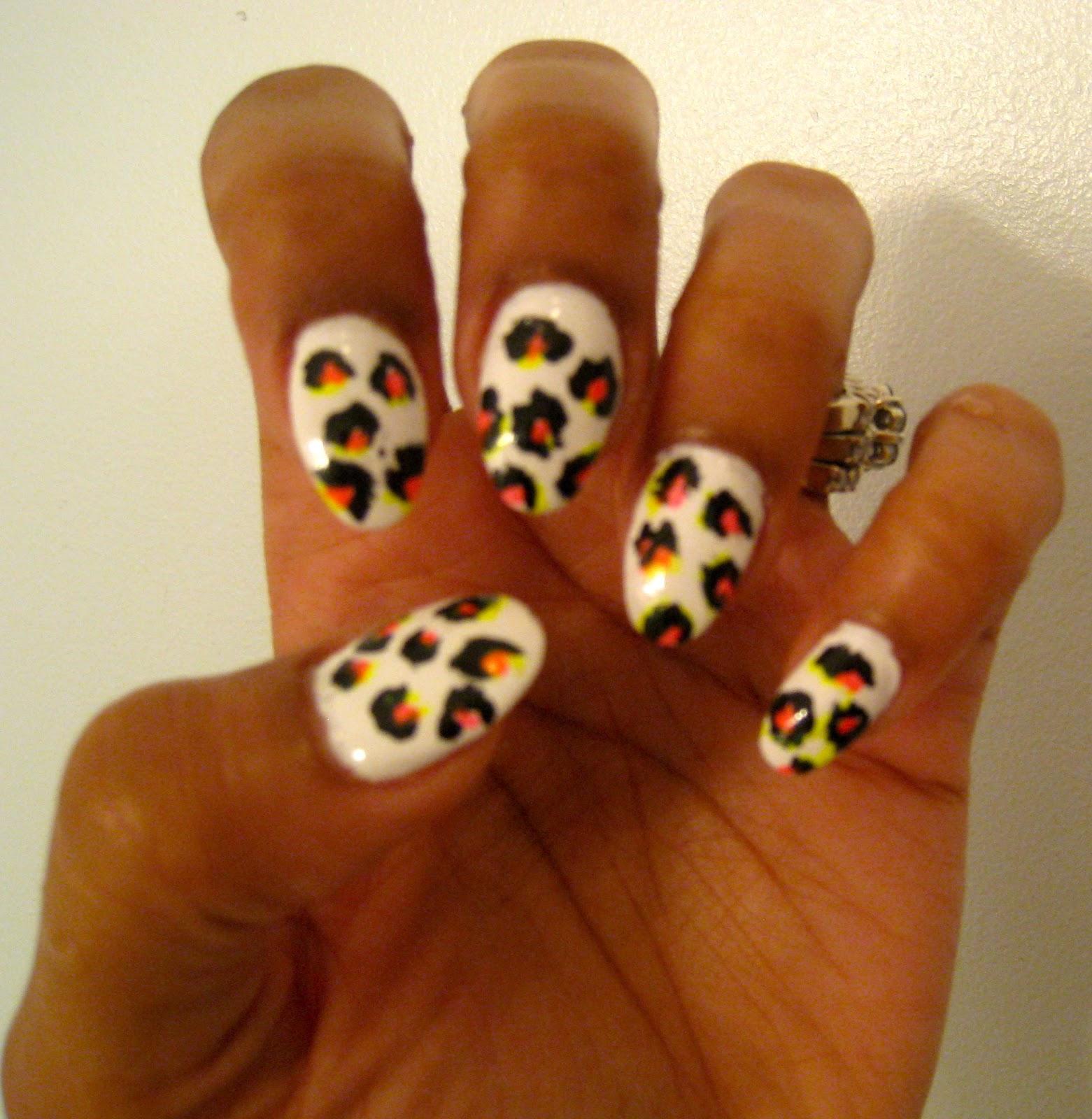 bow ties and barrettes cheetah print nail designs