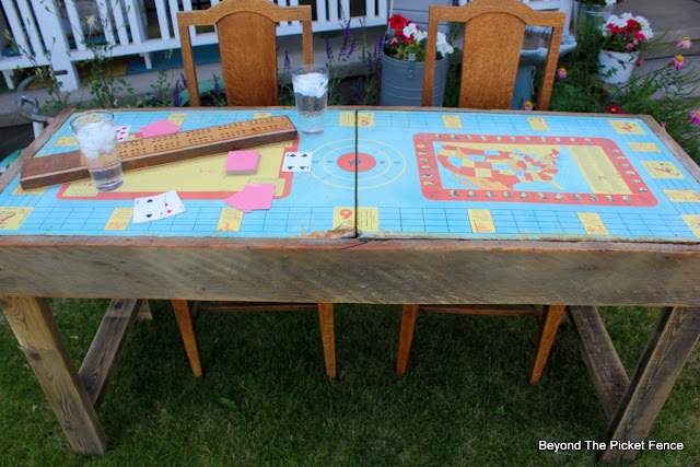metal table, reclaimed wood, rusty, vintage, http://bec4-beyondthepicketfence.blogspot.com/2015/06/vintage-game-table.html