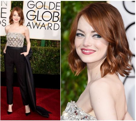 Emma Stone's look, in Lavnin jumpsuit at the Golden Globes 2015