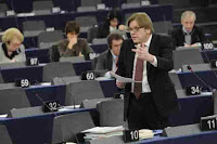a photo of Guy Verhofstadt Speaking at EU Parliament