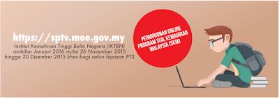 Permohonan Online Program Sijil Kemahiran Malaysia | Lepasan PT 3