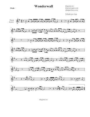 Partitura Wonderwall de Oasis FLAUTA DE PICO / FLAUTA DULCE (adaptación tonalidad fácil) sheet music recorder