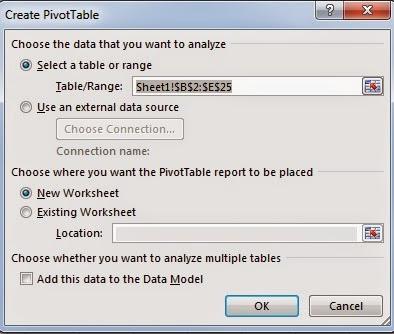 insert Pivot table