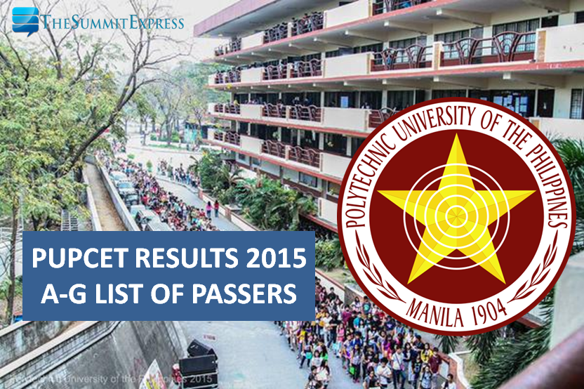 PUPCET Results 2015 A-G Alphabetical List of Passers