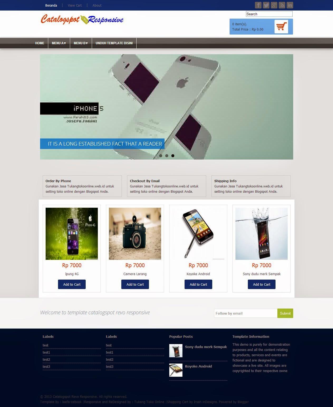 Revo Responsive - Template Blogspot dengan Shopping Cart
