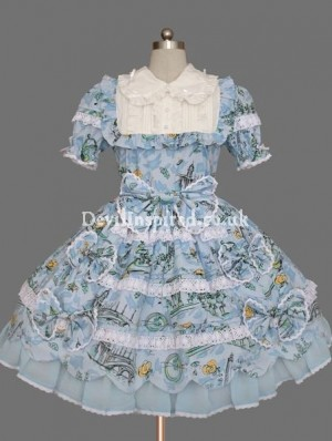 Classic Printed Bow Rococo Lolita Dress