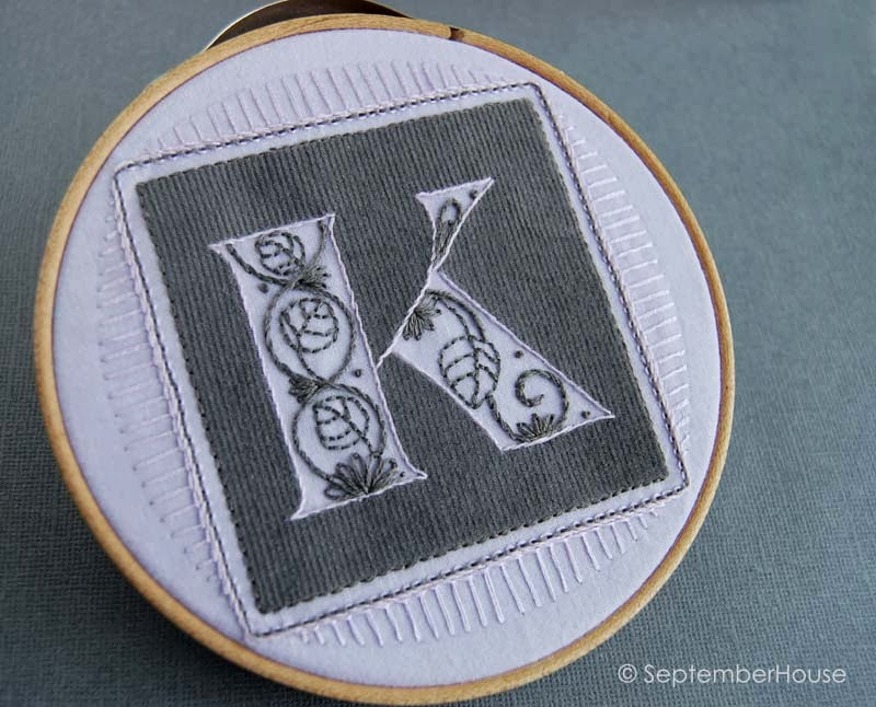 Hand Embroidered Initials with floral motif by SeptemberHouse