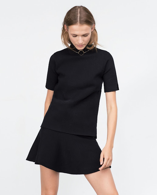 zara black high neck top