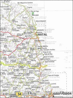 Mapa rodoviário da região de Natal