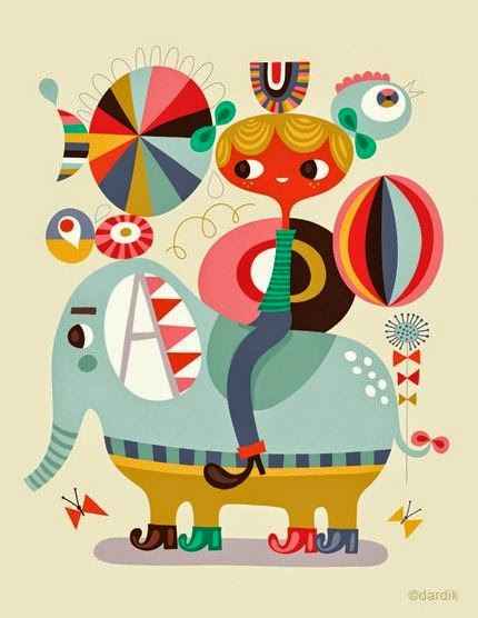 colorful circus elephant illustration by Helen Dardik