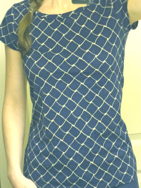 blue and beige scale patternend tshirt, from salvation army vancouver