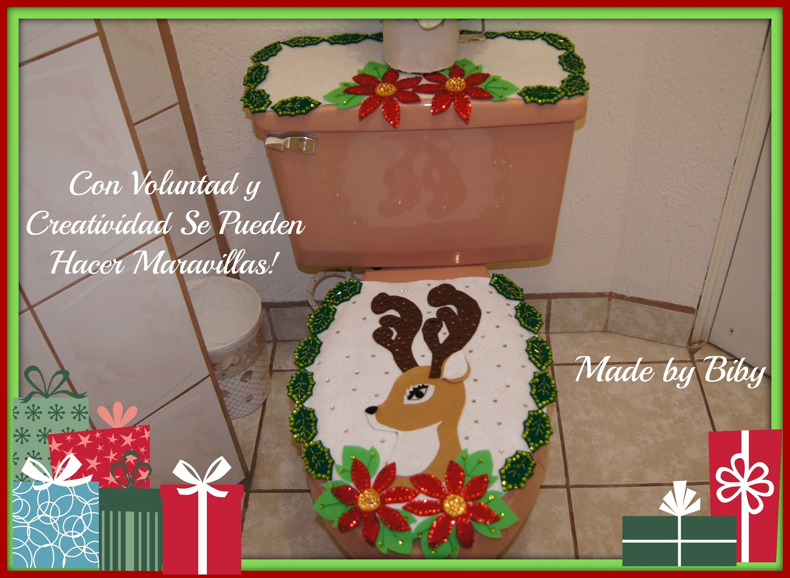 Set De Baño En Genero:Hoy les comparto el tutorial de este bonito juego de baño navideño