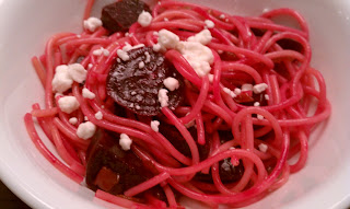 Roasted Beet Pasta with Brown Butter and Goat Cheese