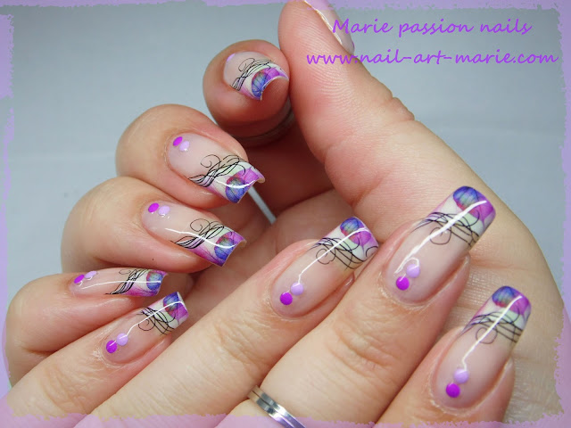Nail Art Water décals french violette1