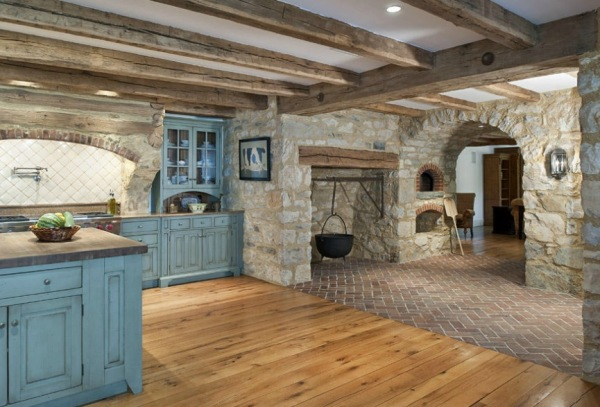 This Kitchen Also Has A Small Cooking Fireplace With A Wood Beam Mantel. It  Also Comes Complete With Pizza Oven. What A Gorgeous Space With The Blue ...