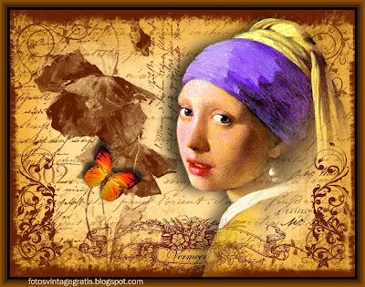 la joven de la perla collage vintage