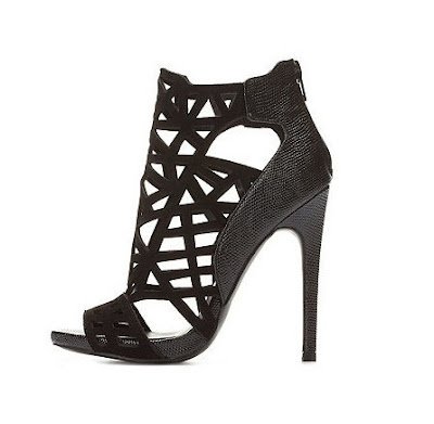 Charlotte Russe Black laser cut strappy high heels