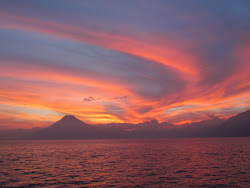 Sunset over Volcan San Pedro, Lago Atitlan