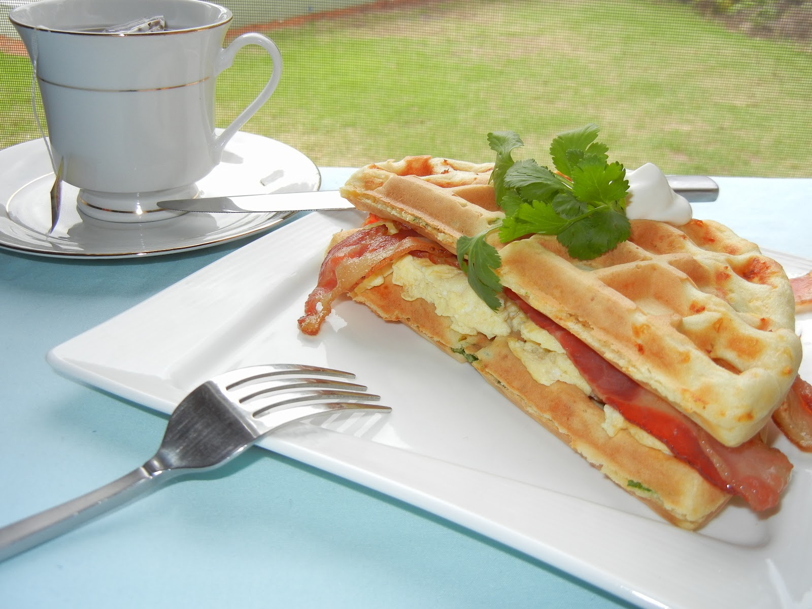 made these awesome smoked cheese and green onion waffles and wanted ...