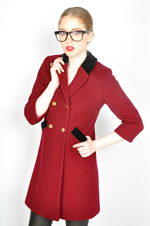 Vintage 1980's red ox-blood colored wool Christian Dior peacoat with black collar.