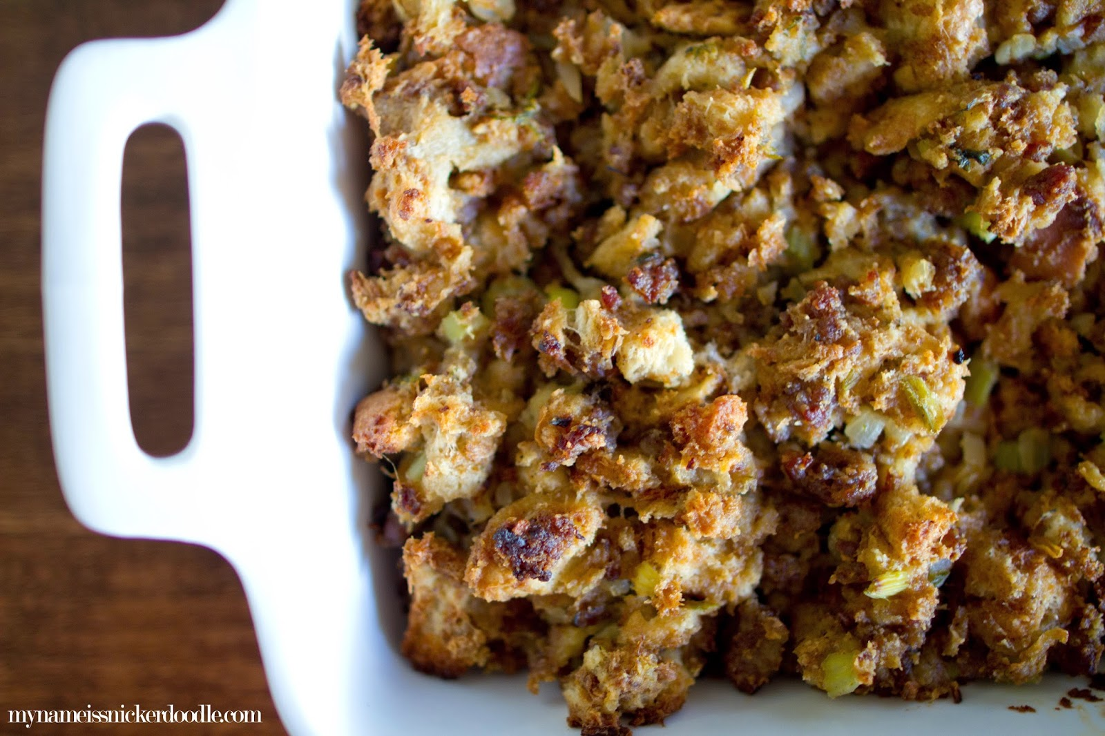 This homemade stuffing (or dressing) is made with sausage and onions.  The perfect savory side for your Thanksgiving meal!  |  My Name Is Snickerdoodle