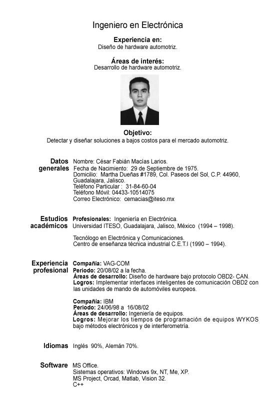 ejemplo de curriculum vitae en ingles y espanol    essay
