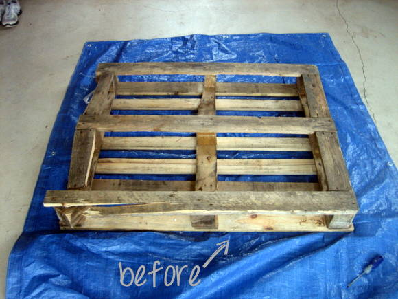 DIY pallet sign before the cute transformation!