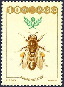 Sello de 10zt de una abeja reina, 1987, Polonia