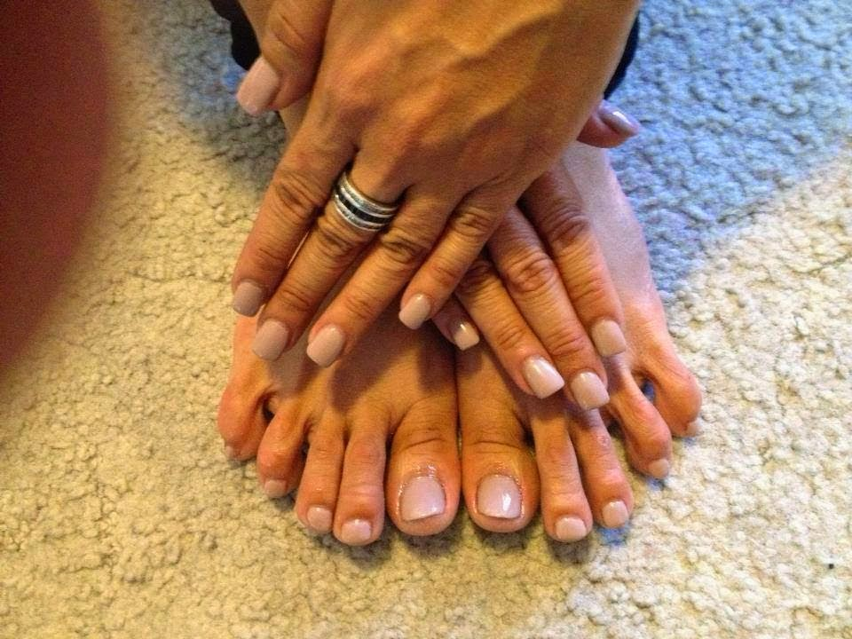 An acrylic back-fill Gel-color mini-Manicure with a matching mini pedicure