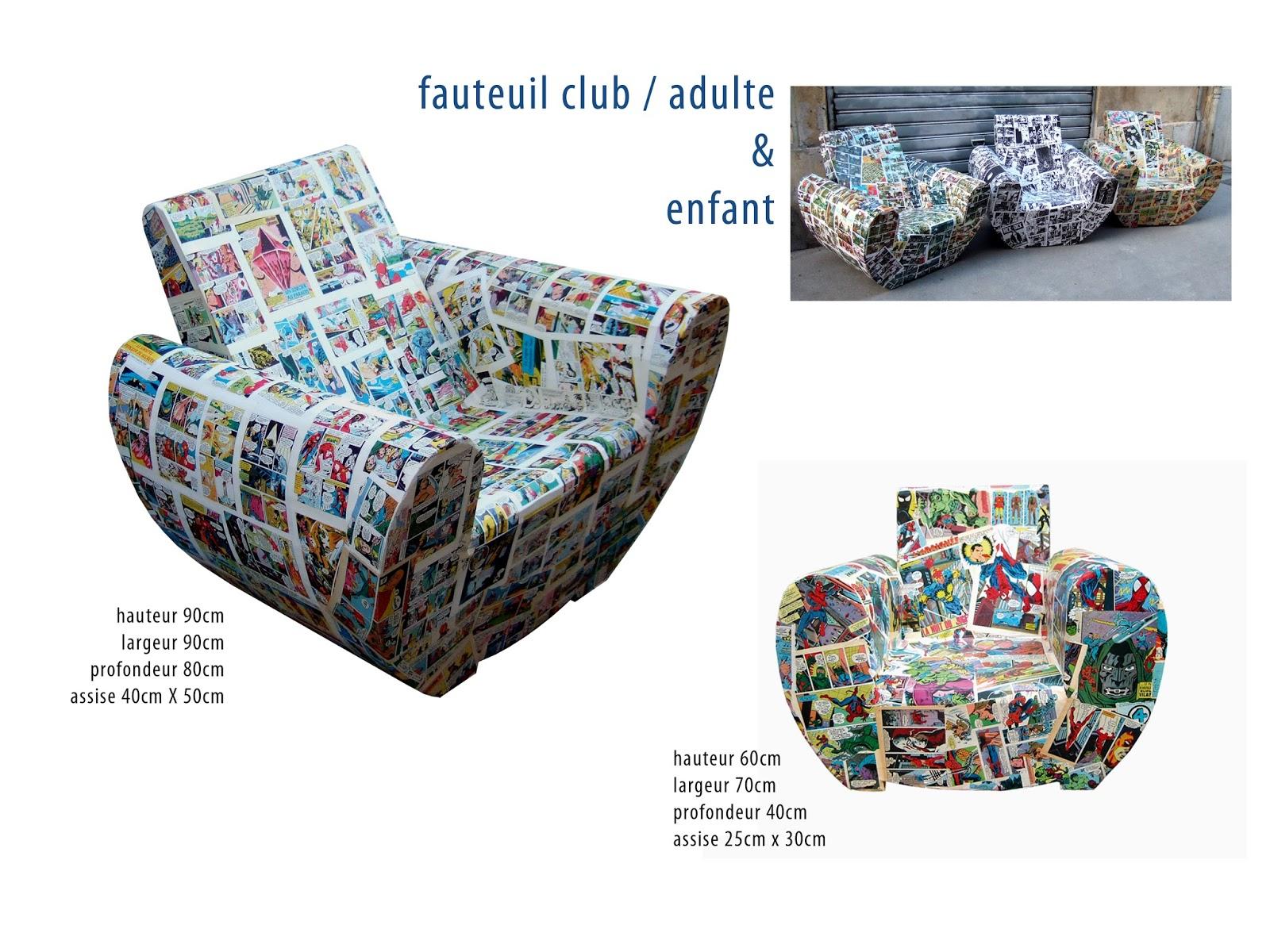 fauteuil club en carton design. marouflage bande dessinée. DC comics. création en carton sur mesure. fabriqué à marseille par juliadesign