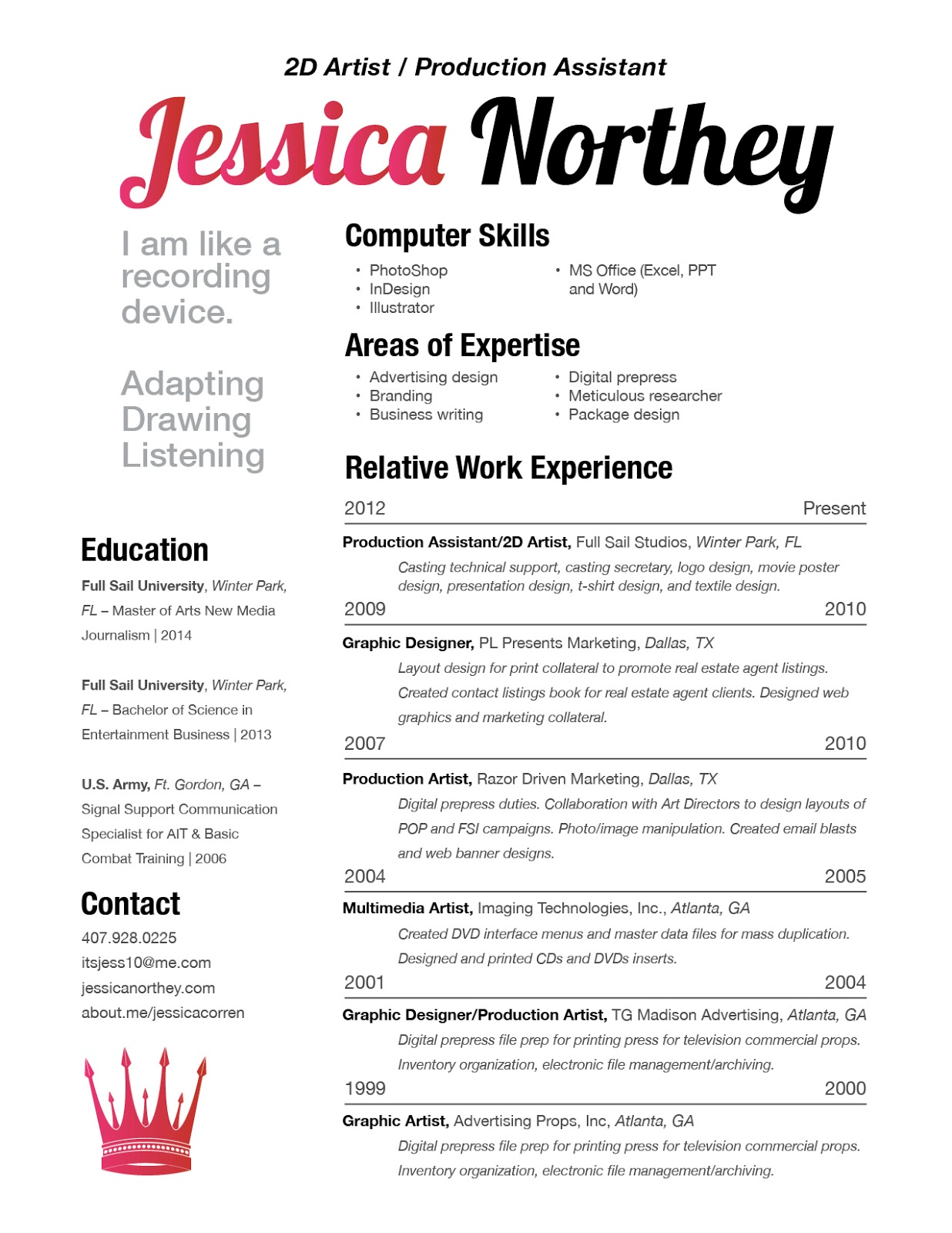 jessica c  northey   resume   sample of work