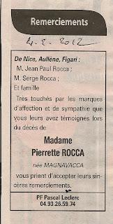Remerciements Magnavacca Rocca Pierrette