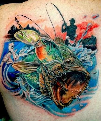 Ηοοκed fish, back tattoo by ToPo